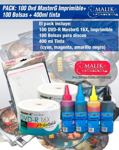 pack 100 dvd imprimibles masterg + 100 bolsas + 400ml tinta