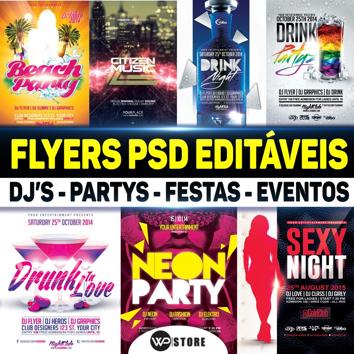 Pack 100 Flyers Templates Editaveis Psd Partys Djs Festas R 12