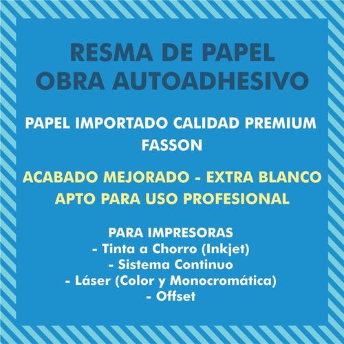 pack 100 hojas a4 papel autoadhesivo obra fasson inkjet