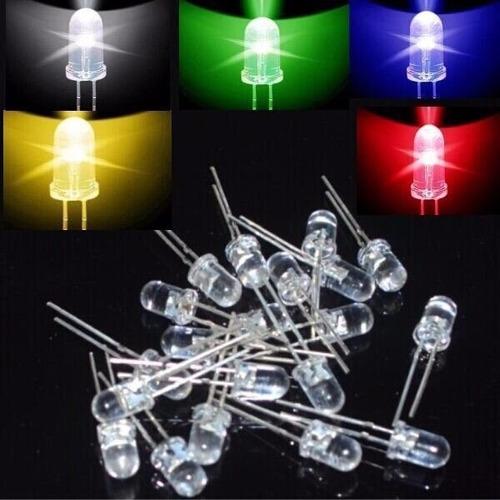 pack 100 leds 5mm - 5 colores (verde-rojo-blanco-azul-amari)