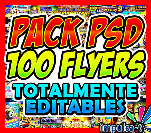 pack 100 plantillas psd, flyers totalmente editables