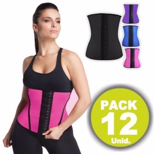 pack 12 faja corset cintura 4 huesos 3 ganchos reductora