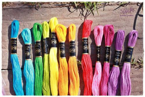 pack 12 hilos bordar algodon de la india iris - arcoiris