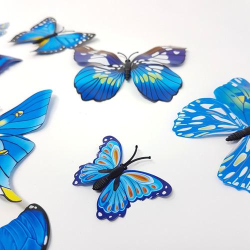 pack 12 mariposas 3d decoracion p/ decorar pared azules