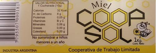 pack 12 miel líquida 1 kg. coopsol. miel pura en jarra