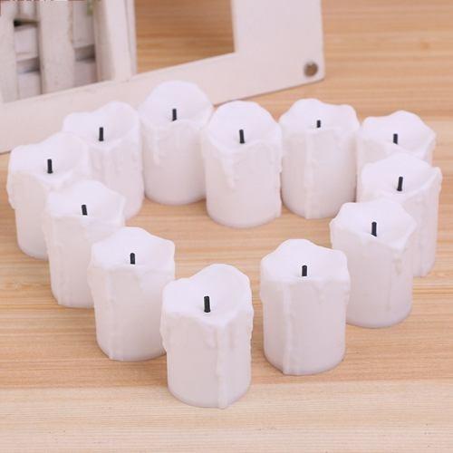 pack 12 velas led blanco color luz blanco cálido 5 cm