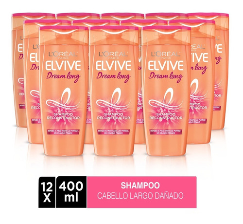 pack 12x shampoo elvive dream long l'oréal paris