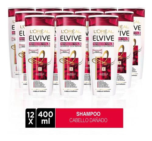pack 12x shampoo elvive reparación total 5 l'oréal paris