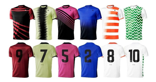 pack 18 camisetas futbol numeradas short y medias gdo sublim