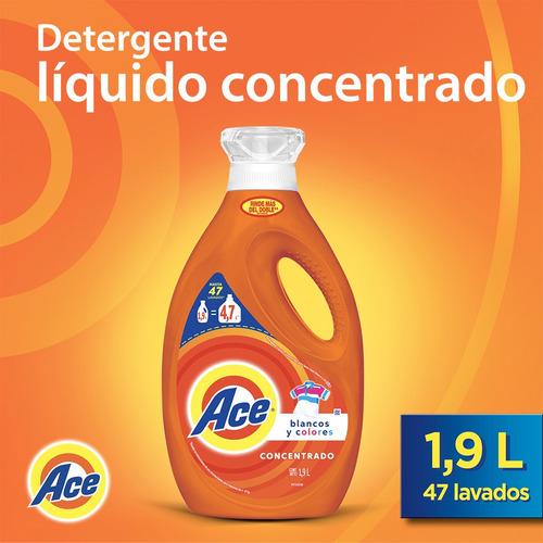 pack 2 botellas detergente ace liquido concentrado 1,9 lt