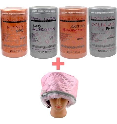 pack 2 botox alisante brasil cacau 1lt,+ 1 gorro termico