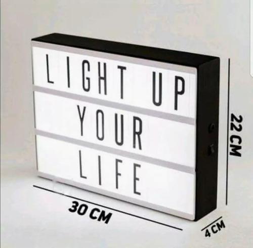 pack 2 caja de luz led lightbox a4 pizarra  letras y emojis