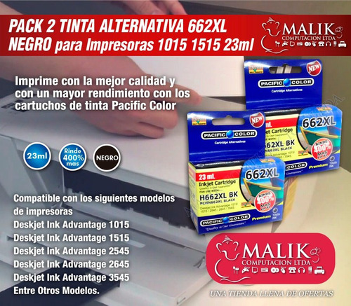 pack 2 cartucho tinta negro alternativo 662xl 1015 1515 23ml