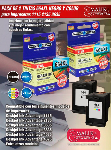 pack 2 cartucho tinta negro y color 664xl 1115 2135 3635