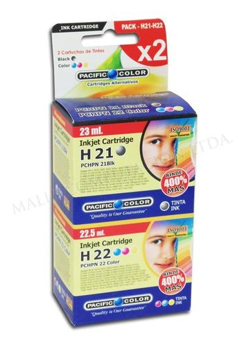 pack 2 cartucho tinta negro y color hp 21 y 22 xl deskjet