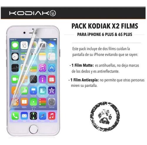 pack 2 films kodiak antiespia y mate - iphone 6  plus