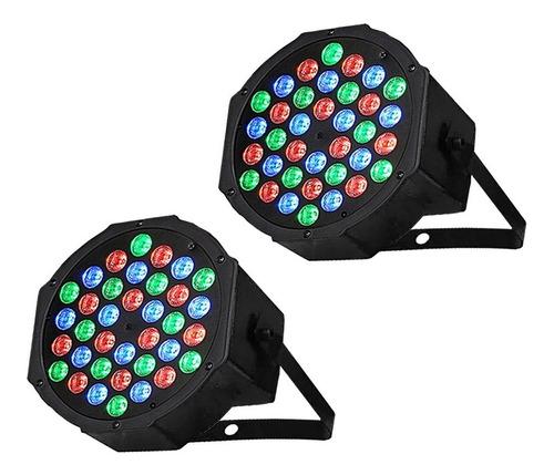 pack 2 focos par 36 led rgb dmx luces fiestas audioritmico