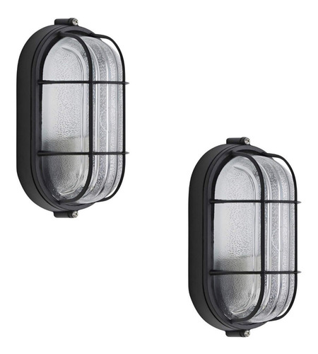 pack 2 lampara aplique oval tipo tortuga exteriores e27