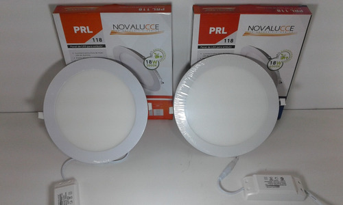 pack 2 panel plafon 18w led embutir redondo blanco