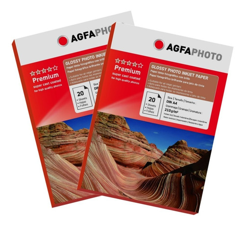 pack 2 papel premium agfa glossy a3 de 210gr / 20 hojas