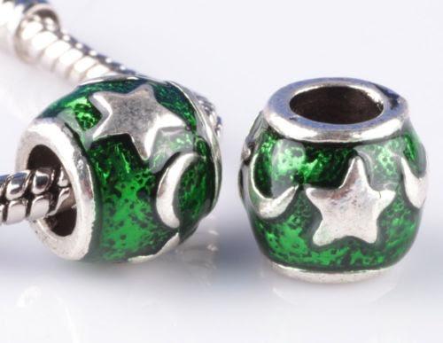 pack 2 pcs charms estrella luna pandora color verde y morado