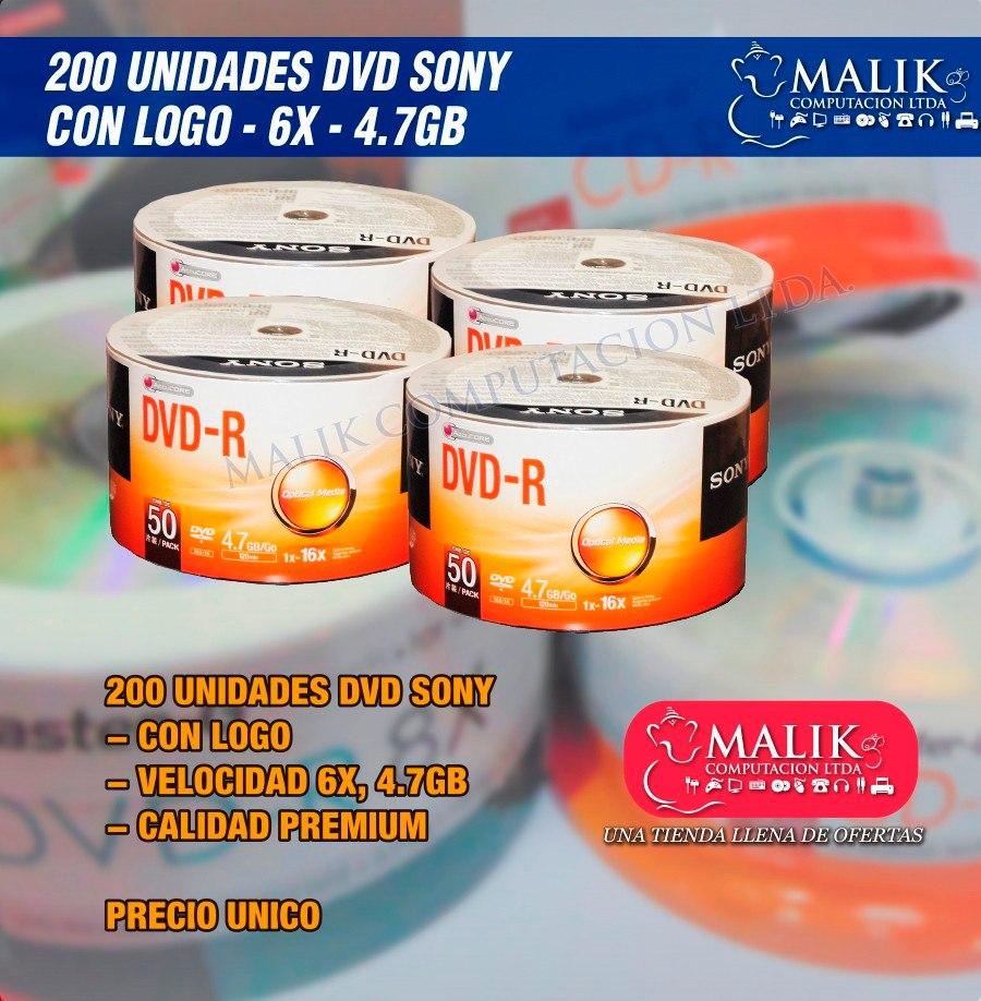 Pack 200 Unidades Dvd R Virgen Sony Estampado Logo Bulk 16x 50 Cargando Zoom