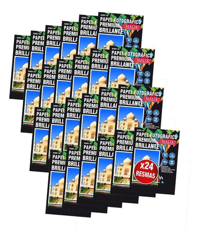 pack 24 papel fotografico glossy 135gr 100hojas a4