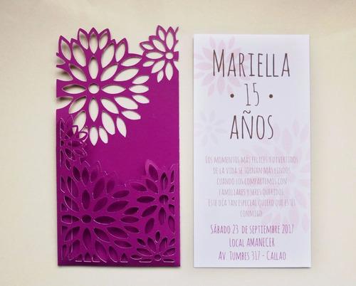 pack 25 invitaciones troqueladas 15 años delivery floral 1