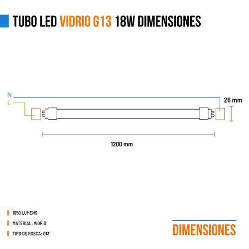 pack 25 tubo led 220v 18w = 36w t8 120cm blanco vidrio