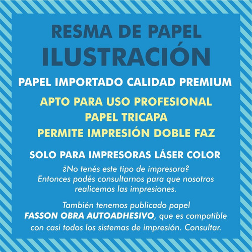 pack 250 hojas a3 papel 220grs ideal candybar - laser color