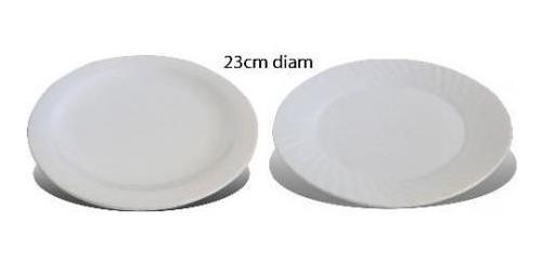 pack 2x: plato postre ceramica blanca 22cm diam xy