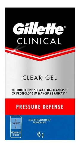 pack 3 antitranspirante gillette clinical clear gel 45g