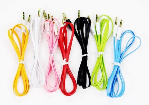 pack 3 cables auxiliar audio mini plug 3.5mm plus 1mt  goma
