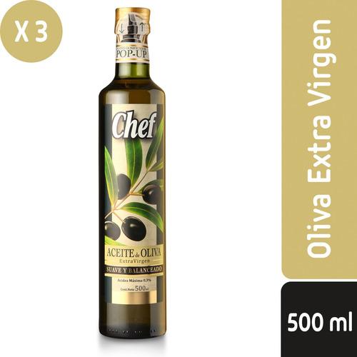 pack 3 - chef aceite de oliva extravirgen 500 ml