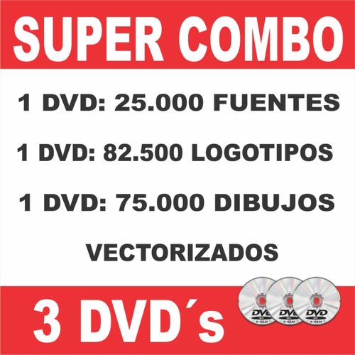 pack 3 dvd's diseño serigrafía: fuentes, logotipos y dibujos