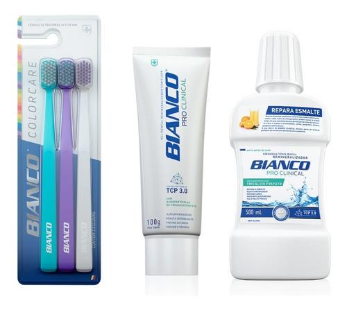 pack 3 escovas de dente + creme dental  + enxaguante bianco
