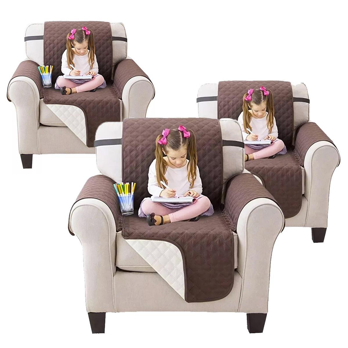 Pack 3 Funda Protectora 1 Plaza Reversible Para Sofa Comedor ...