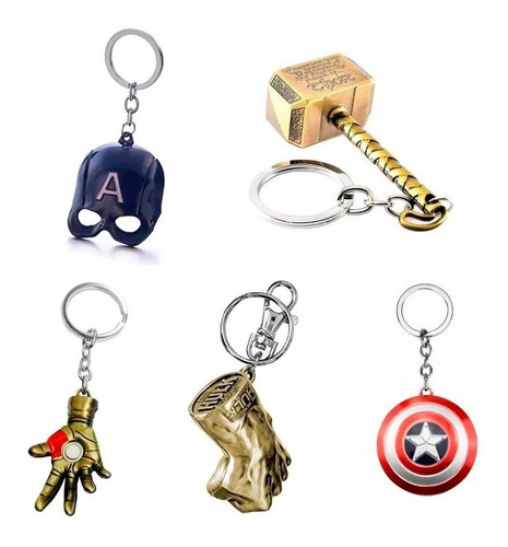 pack 3 llavero metal sólido avengers endgame thanos thor