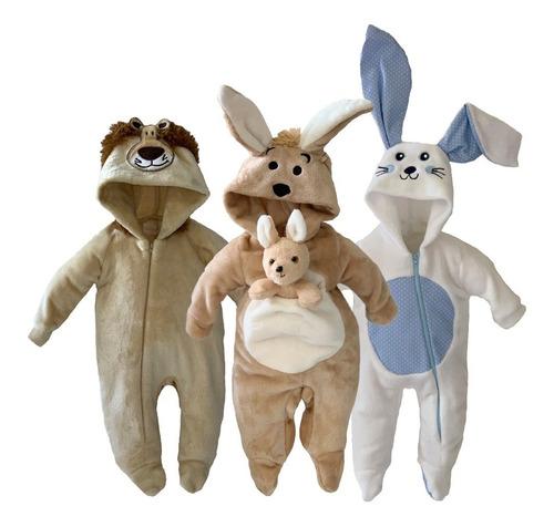 pack 3 mamelucos león, canguro, conejo a precio de 2