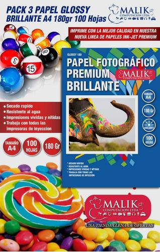 pack 3 papel fotográfico glossy brillante 100 hojas a4 180gr