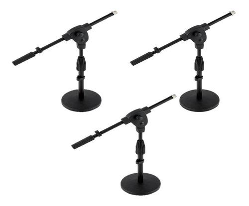 pack 3 pie de microfono mesa  base reforzada premium