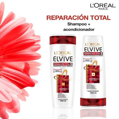pack 3 shampoo + 3 aco elvive reparacion total l'oréal