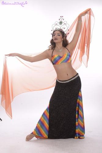 pack 3 velos gasa tornasolada danza arabe belly dance