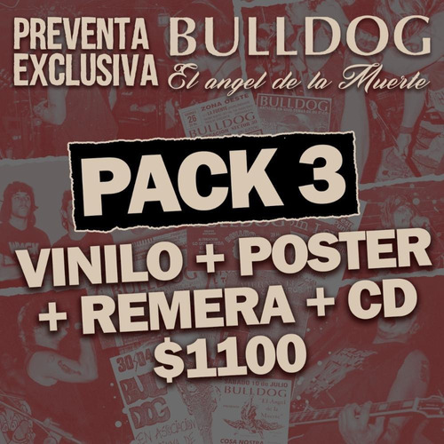 pack 3 vinilo bulldog  el angel de la muerte+remera+cd+poste