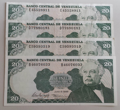 pack 4 billetes venezuela 20 bs jun 1995 b, c, d y e8 xf-unc