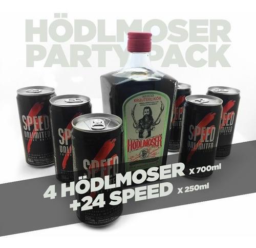 pack 4 botellas hodlmoser de 700ml + x24 latas de speed