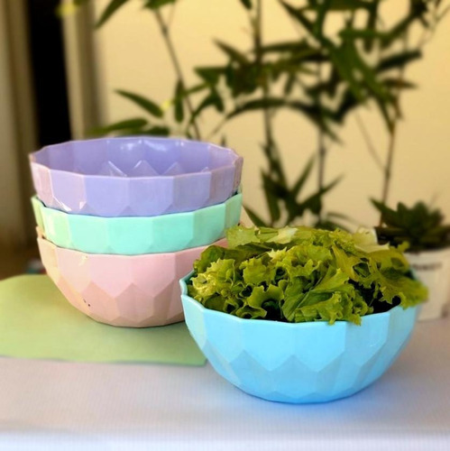 pack 4 bowl grande ensalada postre compotera colores pastel