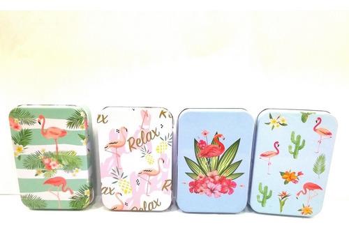 pack 4 cajas latas pastillero kawaii flamenco vintage