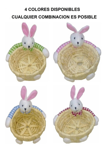 pack 4 canastos de mimbre con conejos 15 cm