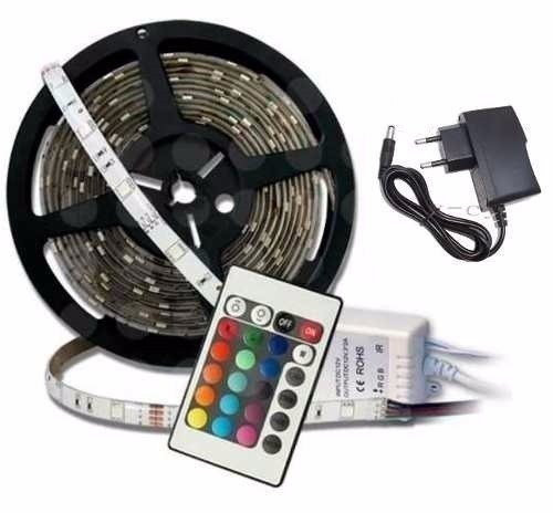 pack 4 cinta tira 300 led 5mt rgb control luces